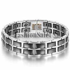 17mm Wide Men's Heavy Stainless Steel Ceramic Magnet Charm Bracelet Bangle Chain