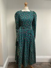 VINTAGE LAURA ASHLEY Cord Dress Modern UK 10 Made In GB Green Paisley Pattern