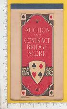 9211 Auction Bridge score bklt 1928 Barrows Oil Coal Brattleboro, VT playing car