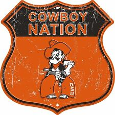 """Oklahoma State Cowboy Nation Highway 12"""" x 12"""" Embossed Metal Shield Sign"""