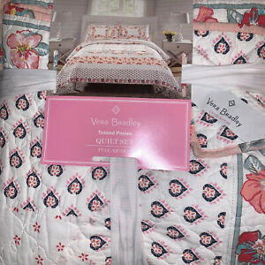 Vera Bradley 3-PC FULL/Queen Quilt Set~Bedspread Tossed Posies Pink NEW ~Unique~