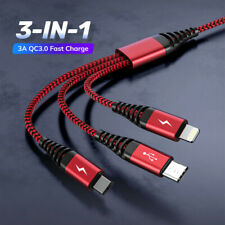 3 IN 1 Cable Fast Charging Sync Data 8-Pin Micro USB Type C for iPhone Samsung