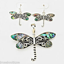 #JRJ323 ABALONE DRAGONFLY BLUE PENDANT NECKLACE EARRING SET BEACH GARDEN SILVER