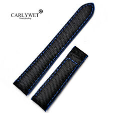 18mm Nylon Black/Blue Replacement Watch Band Strap For OMEGA SEAMASTER PLANET