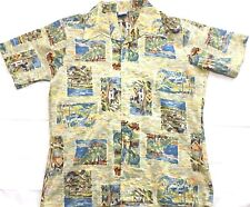Vintage 1970s Le Chevron Hawaiian Shirt Abstract Impressionist Size L Polyester