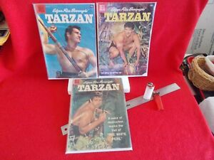 "NICE LOT OF THREE COUNT (3) DELL ""TARZAN"" COMICS FROM 1958, ALL COLLECTOR-GRADE"
