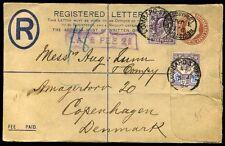 1906 late Fee 2D kevii Lombard St PERFINS registrata in Danimarca
