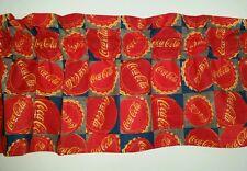 LINED VALANCE 42X12 VINTAGE COCA COLA COKE BOTTLE CAP LOGO SODA POP BLOCKS