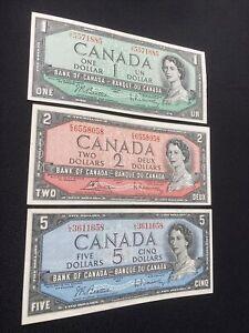 canada banknotes 1954, $1, $2, $5,  (UNC) Lot # 307