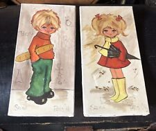 Original Big Eyes Oil Painting 1966; Pair  Urchin Child Keane Style