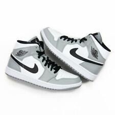 Nike Air Jordan Retro 1 Mid Light Smoke Grey Black White 554724-092 Men & GS