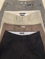 Lot of 4 Women's Dress Pants Size 12 Banana Republic Gap Black Brown Khaki Grey