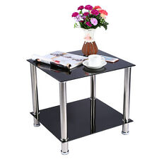 Black Glass & Stainless Steel Small Display Stand Side Coffee Table Furniture UK