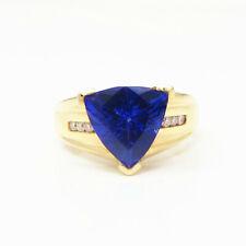 NYJEWEL 14K Yellow Gold 9ct Tanzanite Diamond Big Ring