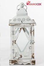 LANTERNA portacandela cero BIANCA cm.18x18 h41 legno metallo decorazione Shabby