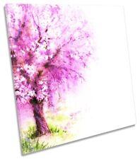 Árbol de Flor Rosa Floral Lona Pared Arte Cuadrado Art Print