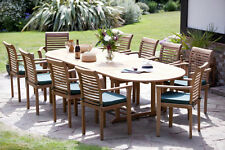 PATIO GARDEN FURNITURE HUMBER TEAK ANTIBES OVAL STACKING SET QUALITY 10 SEATER