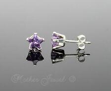 5mm REAL SOLID 925 STERLING SILVER Amethyst Purple CZ Star Womens Earrings Studs