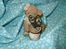 Antique Vintage Calico Cotton Fabric ~ aqua white ~ dolls bears quilts