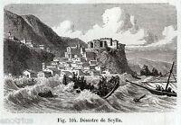 Scilla: terremoto e maremoto del 1783. Stampa Antica + Passepartout. 1880