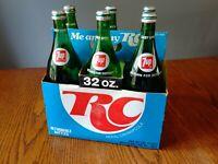 RC Cola 32oz 6 Pack CardboardCarrier, With 6 32oz. 7up Bottles. Vintage