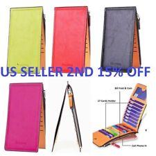 Women Men Leather Wallet Credit Card Holder Clutch Bifold Long Purse Handbag