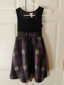 Girl Justice Black Velour Purple Plaid Party Dressy Holiday Dress Size 10