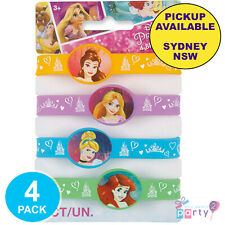 DISNEY PRINCESS PARTY SUPPLIES 4 RUBBER WRISTBANDS BIRTHDAY FAVOURS BRACELETS