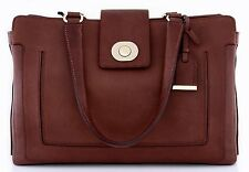 NWT COLE HAAN LAFAYETTE LEATHER TOTE BAG DARK SEQUOIA $398 *HOLDS IPAD/TABLET