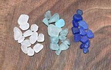 36 Pcs Small / Tiny Genuine SEA GLASS Aqua, Blue & Clear Surf Tumbled Smooth JQ