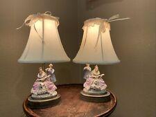 Antique Vintage Victorian Dresden ? Man Woman Porcelain Figurine Table Lamp