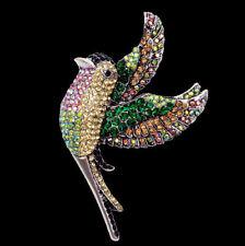 XL Große Brosche Vogel im Flug, silberfarben mit buntem Kristall Pavé