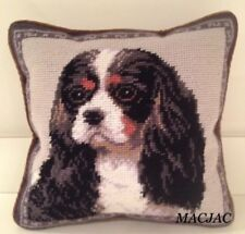 "Tri Color King Cavalier Dog Needlepoint Pillow 10""x10"" NWT"