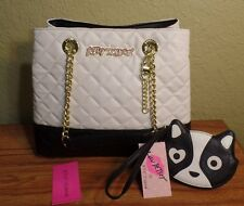 NEW BETSEY JOHNSON Black Cream White PURSE-DOG COIN CLUTCH SET-3 Entry Bag Tote
