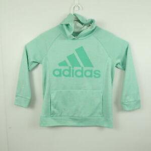 Adidas Womens Hoodie Sweater Size L (14) Light Green Big Logo Jumper