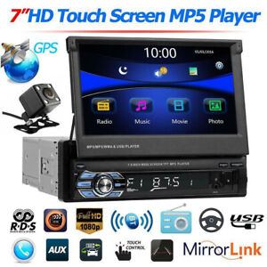 7inch 1Din Auto HD Touch Screen Stereo MP5 Player Blutooth FM Radio + Camera