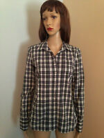 AMERICAN EAGLE OUTFITTERS Sz 8 Womens Navy White PLAID COTTON Button LS SHIRT