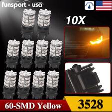 10pcs 3157 60SMD DRL 3157A 4114 4157NA Amber 12V Parking Turn Signal Light Bulb