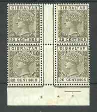 GIBRALTAR SG26  1896 QV 20c OLIVE GREEN & BRN FRESH MNH   BLOCK OF 4 C£152+