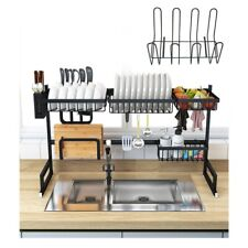 """New listing 33.5""""Over Sink Dish Drying Rack Drainer Shelf Stainless Steel Kitchen Organizer"""