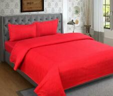 Cotton 240 TC Double Bed Bedsheet with 2 Matching Pillow Cover (Full Size, Red)