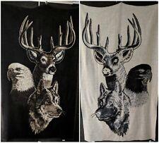 Biederlack Blanket Reversible 73x54 Eagle Buck Wolf brown white Made in USA