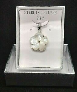 Primrose Flower Pendant Sterling Silver CZ Mother of Pearl Synthetic White Shell