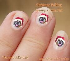 BRITISH BULLDOG Christmas Santa Hat Set of  24 Dog Nail Art Stickers Decals