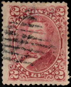 Hawaii - 1883 - 2 Cents Lilac Rose King David Kalakaua #38 with Grid Cancel