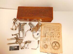 WHEELER & WILSON oak sewing box c1900 13 various metal pcs. 1881 patd dates