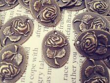 Antique Bronze Oval Rose Charms 25pcs Cute Vintage Flower Pendants Kitsch