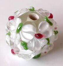 10pcs handmade Lampwork glass round Beads white flower 15mm