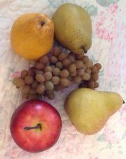 5 Piece Set Of Plastic Fruit, 3 Pears, 1 Apple, 1 Cluster Of Grapes EUC