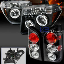 For 05-07 Pathfinder Dual Halo LED Projector Black Headlights+Tail Brake Lamps